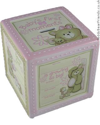 Baby Gund Bear Tales Girl Personalised Keepsake Bank