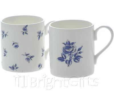 Roy Kirkham Blue Floral Coffee Mugs