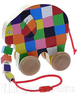 Rainbow Designs Elmer Pull Along Toy Elephant