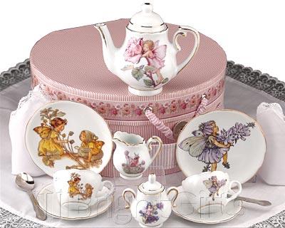 Reutter Porcelain Flower Fairies Miniature Teaset in Hatbox