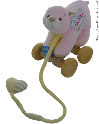 Baby Gund Little Tones Pink Bear Pull Toy