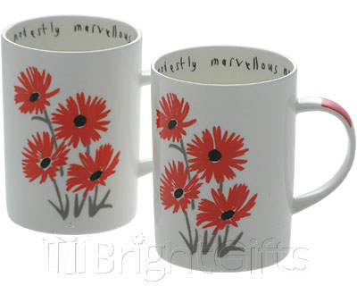 Roy Kirkham Lisa Stickley Red Daisy Mugs