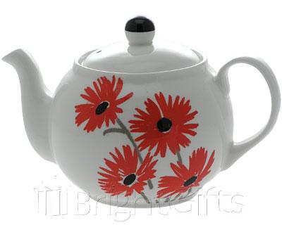 Roy Kirkham Lisa Stickley Red Daisy Teapot