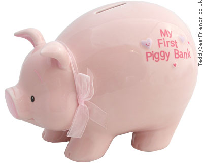My first piggy bank baby gund teddy bear friends for How to make a piggy bank you can t open