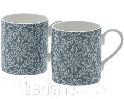 Roy Kirkham Nina Campbell Handblock Coffee Mugs