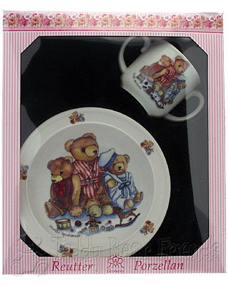 Reutter Porcelain Girls Teddy Bear Baby Set