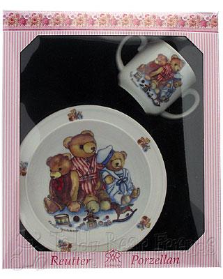Reutter Porcelain Girls Teddy Bear Baby Set