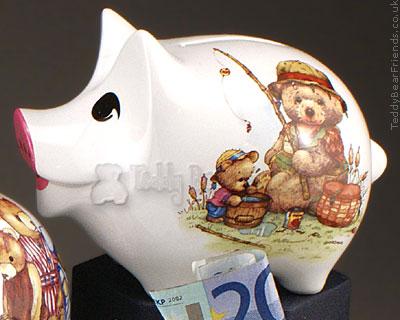 Reutter Porcelain Teddy Bear Fishing Piggy Bank