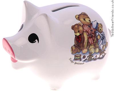 Reutter Porcelain Teddy Bear Piggy Bank