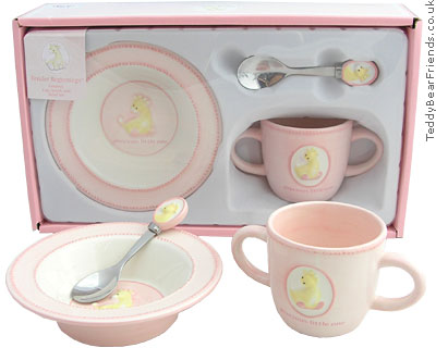 Baby Gund Tender Beginnings Pink Dish Set